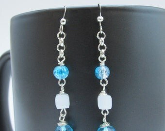 Delicate Light Blue and White Crystal Bead and Chain Dangle Earrings