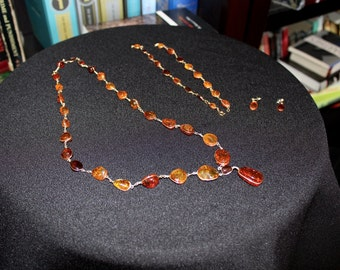 1970s Haitian Amber Jewelry Set with Earrings, Bracelet, and Necklace from Haiti in Original Box (Item #60023)