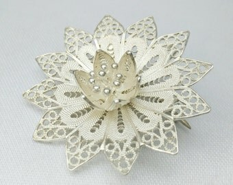 Sterling silver filigree flower brooch pendant,handmade filigree brooch, filigree pendant,filigree flower,Sterling silver pendant,filigree
