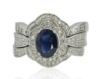 Sapphire Wedding Set - 25% off - Blue Sapphire and Diamond Set with Flower Shaped Contour Wedding Bands - OFFERS CONSIDERED - LS471
