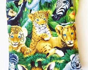 Clearance sale! Mini crossbody bag, IPhone 6 Plus purse, small sling bag, travel purse, jungle animals