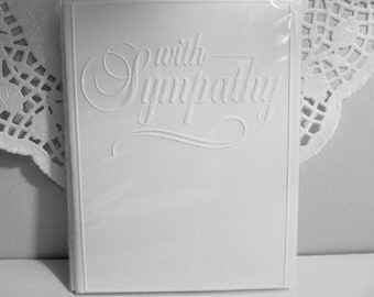 Embossed With Sympathy Card - A2 Size - White Cardstock - Set of 4 - Simple yet Elegant