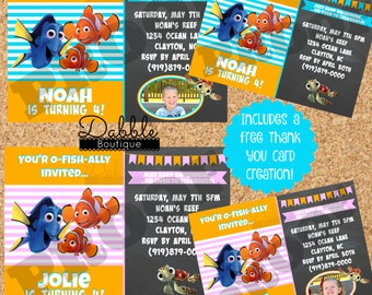 Finding Nemo Birthday Invitation/ Finding Dory Birthday Invitation Includes FREE Thank you card