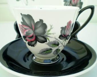 Royal Albert Bone China Trio - 'Masquerade' - Cup/Saucer/Side Plate - Roses - England
