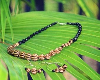 Color block necklace set, Black and Copper necklace set,  Chunky bead necklace, Statement necklace
