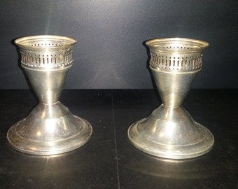 Set of DUCHIN creations sterling silver candle holders weighted bottoms vintage