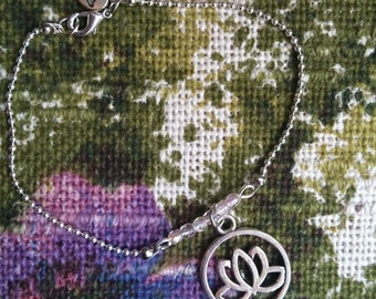 Unique hand-made bracelet with Lotus charm