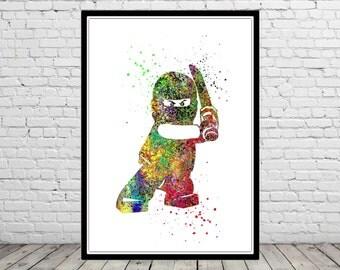 Lego Man Ninjago, Ninja  Watercolor print,  Kids Room Decor, Poster, print (1451b)