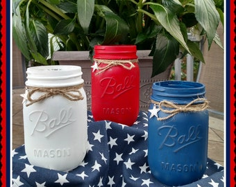 Red, White and Blue Patriotic Jars