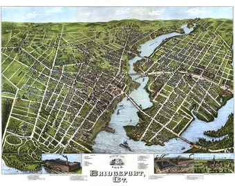 Bridgeport, Fairfield County, Conn., Connecticut CT 1875.   O.H. Bailey.  Reproduction Vintage Bird's eye view map print. CT0039