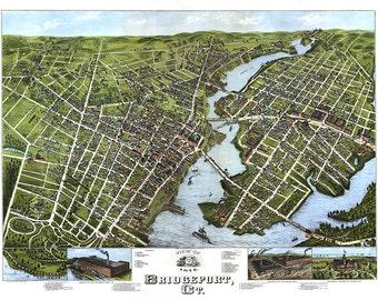 Bridgeport, Fairfield County, Conn., Connecticut CT 1875.   O.H. Bailey.  Reproduction Vintage Bird's eye view map print. CT0039