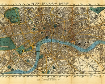 Historic London Map England U.K. 1860.  Restoration Hardware Home Deco Style Old Wall Map. Vintage Reproduction