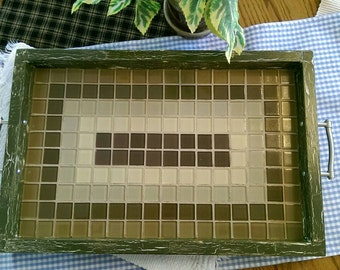Green Tile and Wood Serving Tray (breakfast tray)