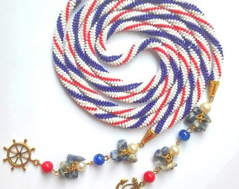 Blue red white beaded lariat necklace – long striped crochet seed bead lariat necklace – marine beaded rope necklace with tassel