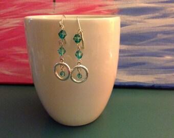 Dangle with loop Green Earrings