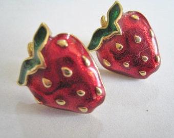 Strawberrie Enamel Pierced Earrings