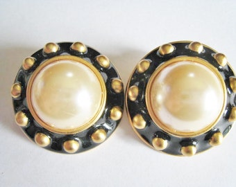 Large Chunky Faux Pearl Clip Earrings