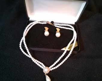 Vintage Faux dual strand Pearl Necklace with Earrings