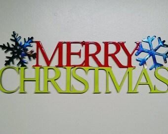 Metal Merry Christmas sign