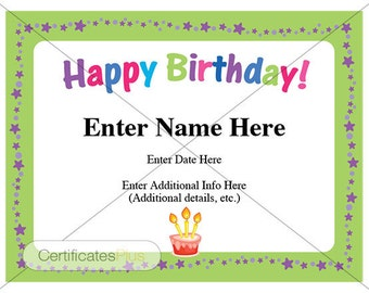 Happy Birthday Certificate, Kid certificates, Birthday cards, child certificate, Birthday Wishes, messages, birthday greetings