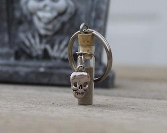 Graveyard Dirt Key Chain w/Metal Skull Charm, Halloween Gift, Scary Halloween, Holiday Gift, Spooky Gift, Halloween Spirits, Ghost Key Chain