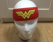 Wonder Woman Headband red great for workout running yoga wicks away sweat -bathing suit material soft-stays in place-washable-ties