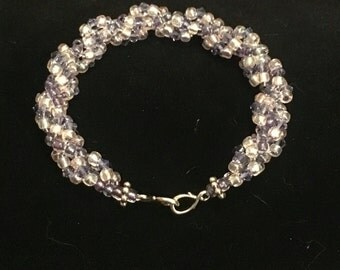 Pink and purple spiral beaded bracelet