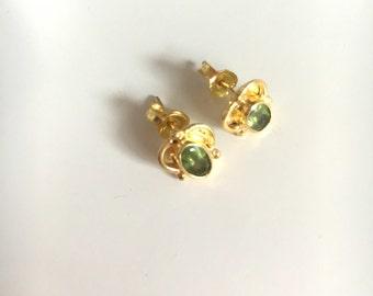 Green Peridot Gold Stud Earrings
