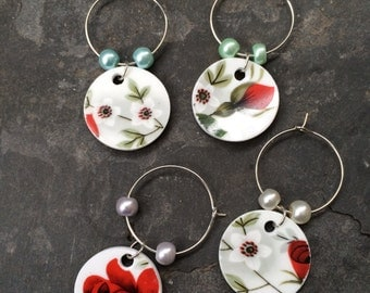 Set of 4 upcycled china wine glass charms