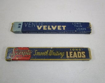 Scripto and Venus Pencil Lead, Original boxes, Wooden trays