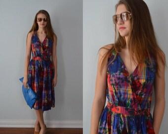 Vintage Cotton Wrap Dress, Cotton Wrap Dress, Wrap Dress, Vintage Wrap Dress, 1990s Cotton Wrap Dress, Perspective, 1990s Dress