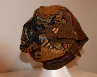Slouchy toque made from a recycled sweater!