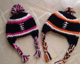 Custom Crochet Football Beanie**any color**