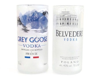 Pair of Upcycled Vodka Bottle Tumblers