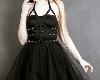 nu goth flared dress black tulle studs gothic