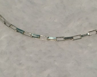 """Sterling Box Link Bracelet - 9"""" - CA 1970's - Item # BL1"""