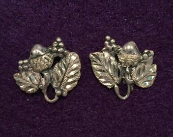 Sterling Fruit & Diamond Cut Leaves Post Earrings - CA 1950's - Item VP 103