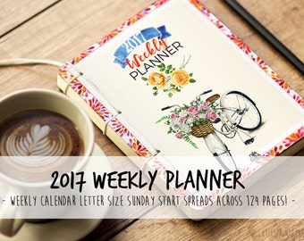 2017 Planner including: Weekly Planner, address book and 2017 & 2018 Yearly Calendar - bright colors - Sunday Start - Letter size