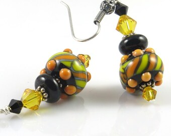 Lampwork Earrings, Yellow, Black Orange Earrings, Bright Earrings, Liquorice Earrings,