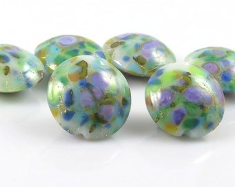 Destash, Six Handmade Lentil Lampwork Beads, Green Multi Colored Glass Beads,