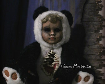 Polly the Panda girl- creepy porcelain doll, monster teddy, nightmare toys, terror bear, freaky, horror doll, haunted dolls