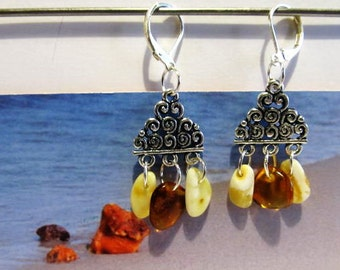 100% Natural Baltic #Amber #Earrings 4.5 gr. 925 #Silver plated #yellow and  #cognac opaque beads souvenir gift present  3 suspenders