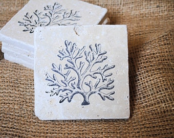 Coral Natural Stone Tile Coaster, Coral Coaster, Coral Reef, Set of 4 Coasters