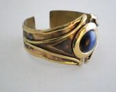 Vintage Cuff Bracelet, Copper or Brass Cuff, Blue Stone, Dramatic Bracelet, Boho Luxe, Gift Woman Lady