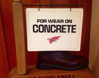 Vintage Advertising shoe store salesman Red Wing Boot Display  Wood display with two double sided signs