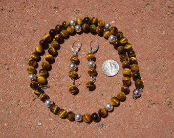 Tiger Eye and Sterling Silver Necklace and Earring Set