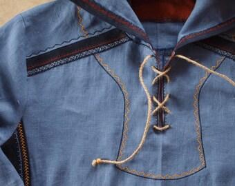 Mens linen shirt Slavutich, Long sleeve loose shirt, Linen hoody, Pure linen shirt for men, Slavic ethnic style
