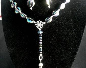 Sterling silver perfume bottle choker and earrings set