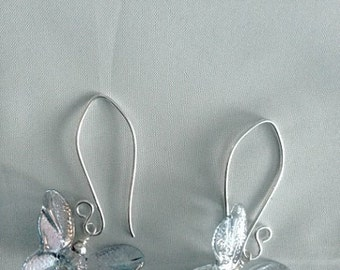 Shimmering Iridescent Lampwork Butterfly Earrings