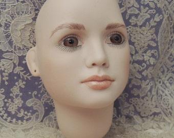 """Vintage Porcelain Doll Head / Bisque Doll Head / Woman Doll Head / M Borowiecki Doll Head / Jan Garnet Doll Head """"Paris"""""""
